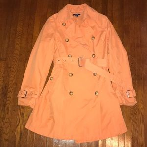 Nautica Orange Belted Trench Coat